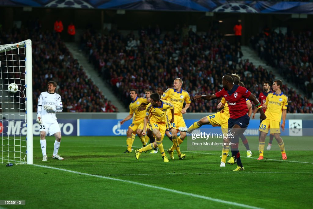 Aurelien Chedjou (#22) of Lille heads and scores his teams first goal of the game during the Group F UEFA Champions League match between LOSC Lille Metropole and FC BATE Borisov at the Grand Stade Lille Metropole on September 19, 2012 in Lille, France.