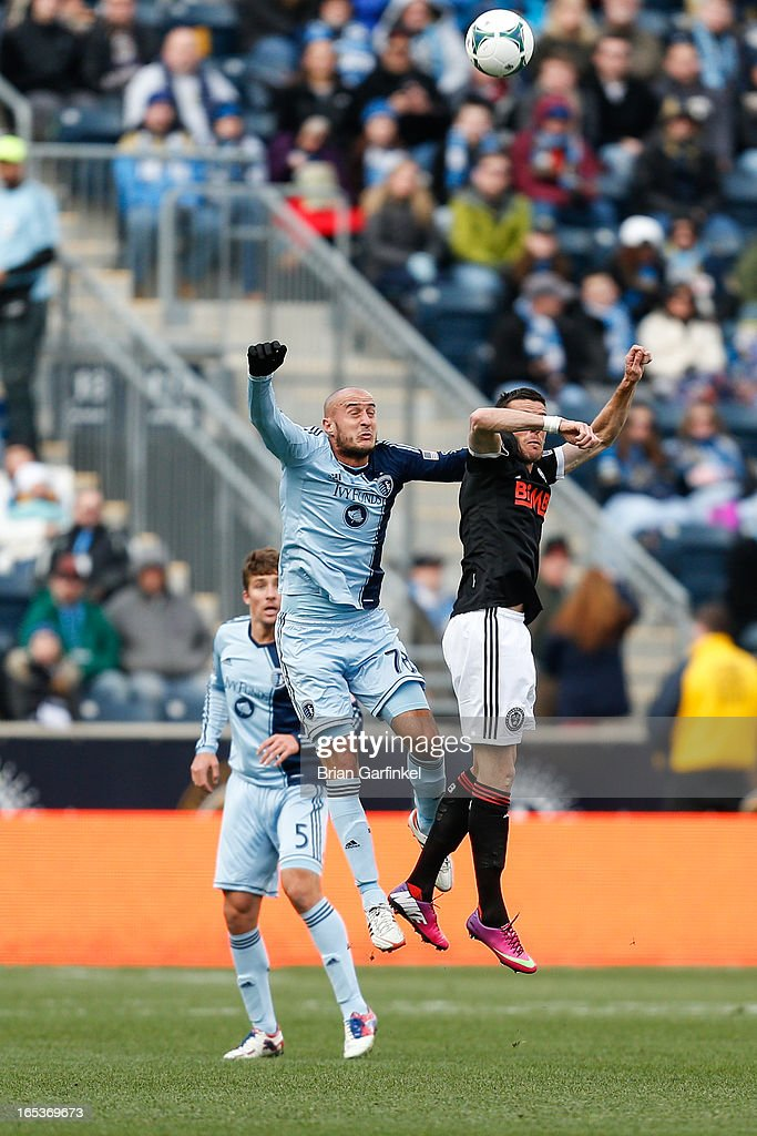 Aurelien Collin #78 of Sporting Kansas City grimaces before heading the ball during the MLS game against the Philadelphia Union at PPL Park on March 2, 2013 in Chester, Pennsylvania. Kansas City won 3-2.