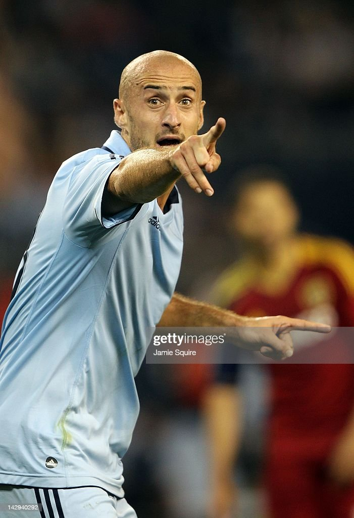 <a gi-track='captionPersonalityLinkClicked' href=/galleries/search?phrase=Aurelien+Collin&family=editorial&specificpeople=6600561 ng-click='$event.stopPropagation()'>Aurelien Collin</a> #78 of Sporting Kansas City reacts during the Major League Soccer game against Real Salt Lake on April 14, 2012 at Livestrong Sporting Park in Kansas City, Kansas.