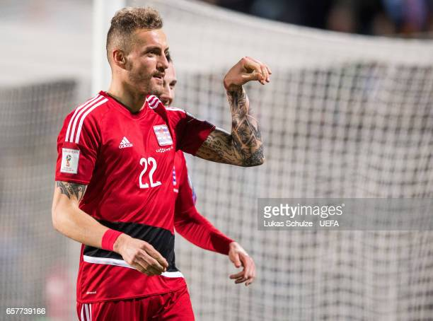 Aurelien Joachim of Luxembourg celebrates his teams first goal during the FIFA 2018 World Cup Qualifier between Luxembourg and France at Stade Josy...