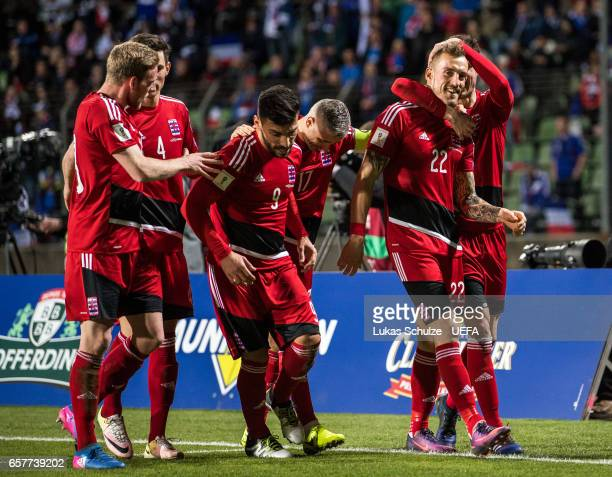 Aurelien Joachim of Luxembourg celebrates his teams first goal with his teammates during the FIFA 2018 World Cup Qualifier between Luxembourg and...