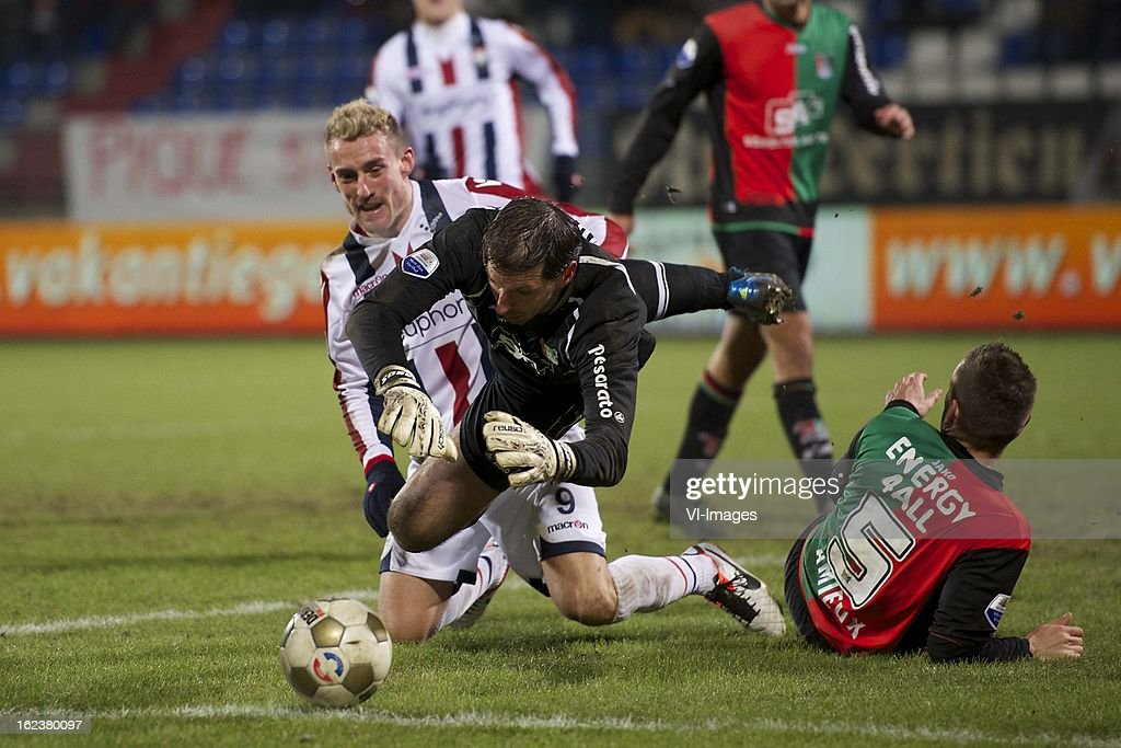 Aurelien Joachim of Willem II, goalkeeper Gabor Babos of NEC Nijmegen, Remy Amieux of NEC Nijmegen during the Dutch Eredivisie Match between Willem II and NEC Nijmegen at the Koning Willem II Stadium on february 22, 2013 in Tilburg, The Netherlands