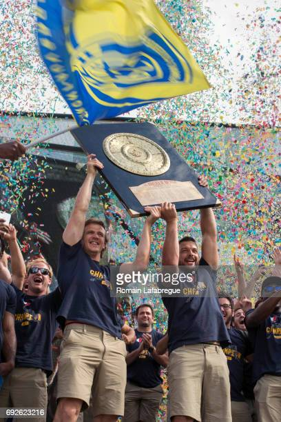 Aurelien Rougerie and Damien Chouly of Clermont during the Clermont Auvergne celebration the day after winning the Top 14 Final on June 5 2017 in...
