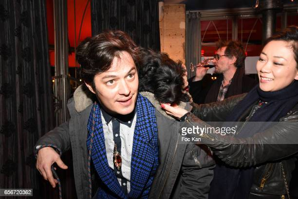 Aurelien Wiik dog Tina and Malika Lambert attend 'Apero Mecs A Legumes' Party Hosted by Grand Seigneur Magazine at the Bistrot Marguerite on March 22...