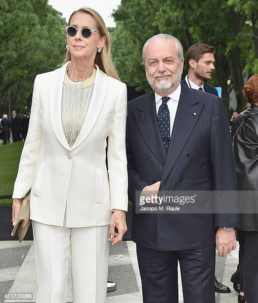 Aurelio De Laurentiis and Jacqueline Baudit attend the Giorgio Armani 40th Anniversary Silos Opening And Cocktail Reception on April 30 2015 in Milan...