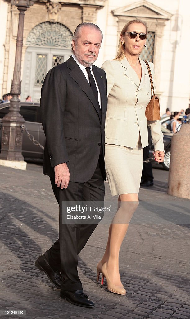 Aurelio De Laurentiis and wife arrive at the Quirinale Palace to attend a gala dinner hosted by Italian President Giorgio Napolitano on June 1, 2010 in Rome, Italy.