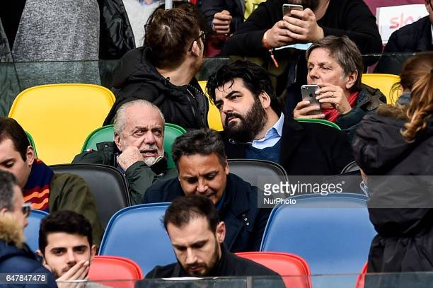 Aurelio De Laurentiis owner of Napoli and italian chef Antonino Cannavacciuolo during the Serie A match between Roma and Napoli at Stadio Olimpico...