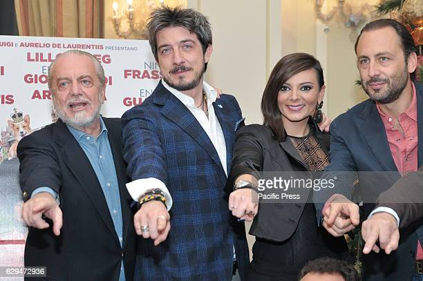 Aurelio De Laurentiis Paolo Ruffini Gli Arteteca and Luigi De Laurentiis during the photocall of Italian film 'Natale a Londra' directed by Volfango...