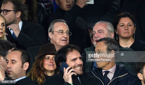 Aurelio De Laurentiis President of SSC Napoli and Florentino Perez President of Real Madrid FC are seen prior to the the UEFA Champions League Round...