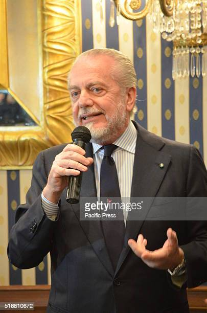 Aurelio De Laurentiis President of SSC Sportive Soccer Society of Naples gives speech during press conference