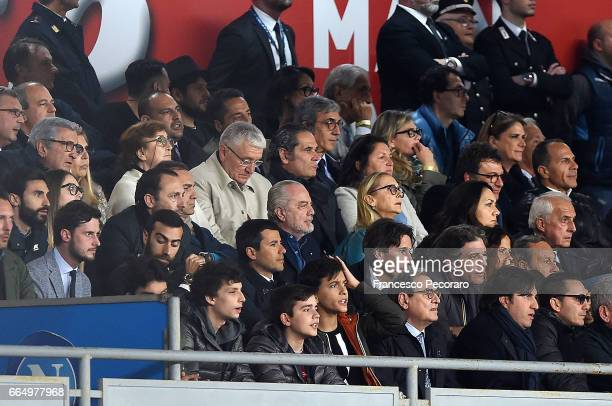 Aurelio De Laurentiis the President of SSC Napoli looks on prior to the TIM Cup match between SSC Napoli and Juventus FC at Stadio San Paolo on April...