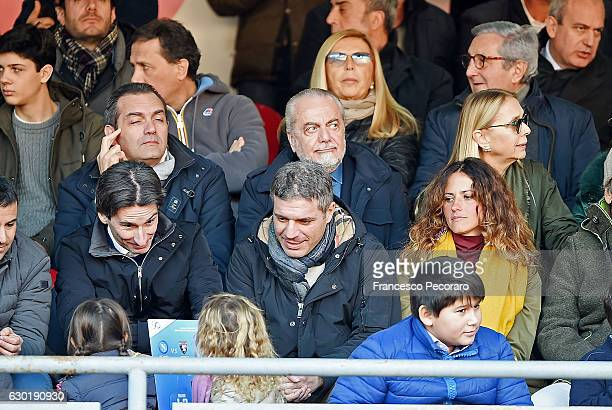 Aurelio De Laurentiis the President of SSC Napoli Luigi De Magistris mayor of Naples looks on prior to the Serie A match between SSC Napoli and FC...