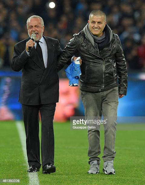 Aurelio De Laurentis President of Napoli and Aniello Daniele brother of Pino Daniele before the Serie A match between SSC Napoli and Juventus FC at...