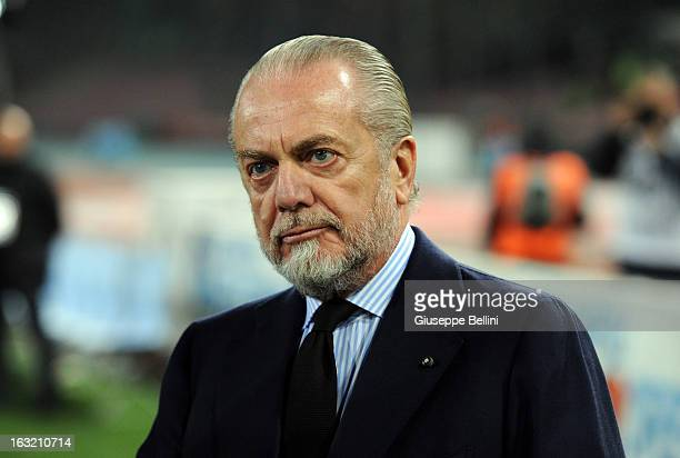 Aurelio De Laurentis President of Napoli before the Serie A match between SSC Napoli vs Juventus FC at Stadio San Paolo on March 1 2013 in Naples...
