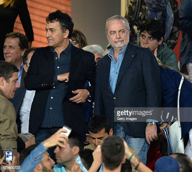 Aurelio De Laurentis the President of SSC Napoli looks on prior to the Serie A match between SSC Napoli AC Cesena at Stadio San Paolo on May 18 2015...
