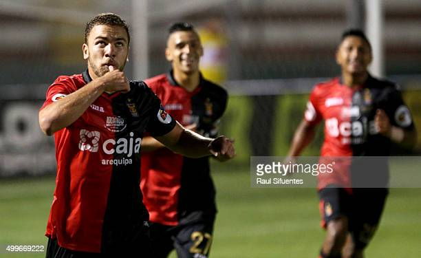 Aurelio Gonzales Vigil of FBC Melgar celebrates the first goal of his team against Real Garcilaso during a final match between FBC Melgar and Real...
