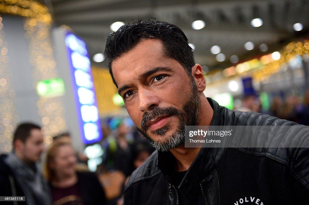 Aurelio Savina poses before the flight to Australia as a participant in the 2015 RTLTVShow 'Dschungelcamp Ich bin ein Star Holt mich hier raus' at...
