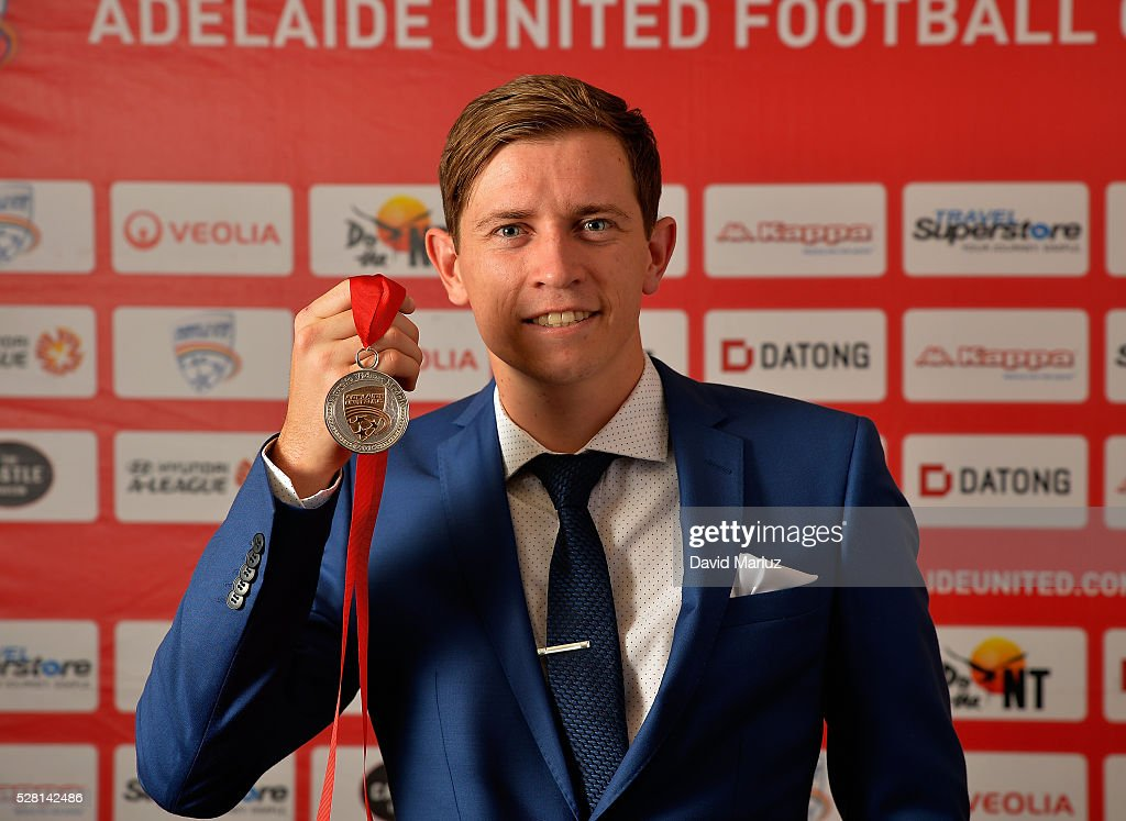 Aurelio Vidmar Club Champion - Craig Goodwin during the 2016 Adelaide United Awards Night on May 4, 2016 in Adelaide, Australia.