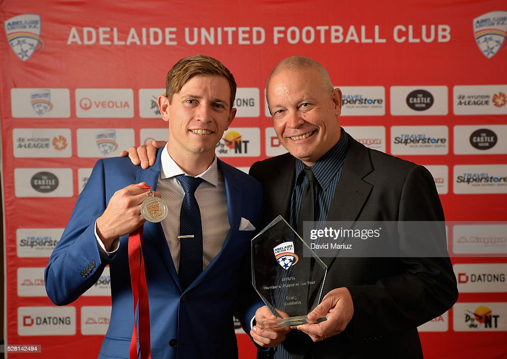 Aurelio Vidmar Club Champion - Craig Goodwin with his father Tony during the 2016 Adelaide United Awards Night on May 4, 2016 in Adelaide, Australia.