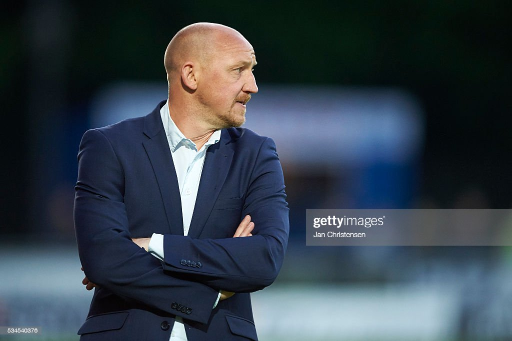 Auri Skarbalius, head coach of Brondby IF looks on during the Danish Alka Superliga match between Hobro IK and Brondby IF at DS Arena on May 26, 2016 in Hobro, Denmark.