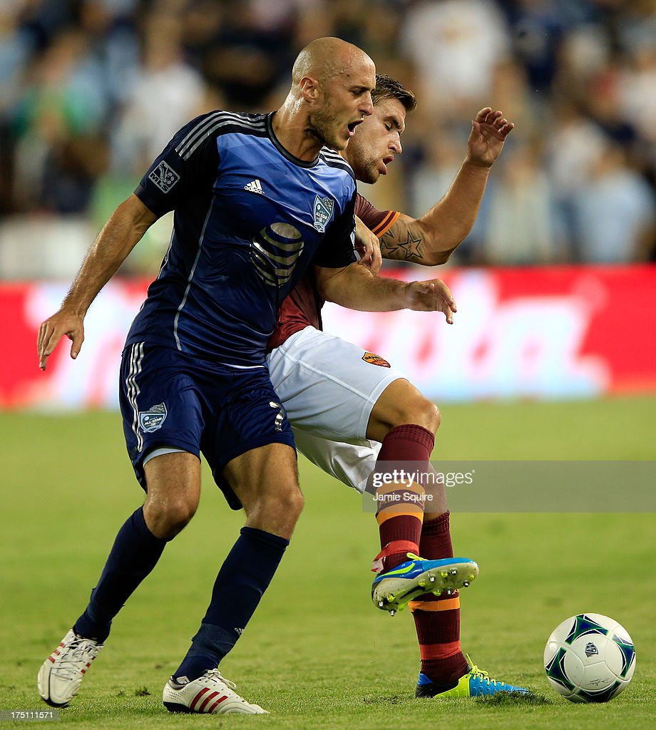 Aurélien Collin #78 of the MLS All-Stars battles <a gi-track='captionPersonalityLinkClicked' href=/galleries/search?phrase=Kevin+Strootman&family=editorial&specificpeople=5566501 ng-click='$event.stopPropagation()'>Kevin Strootman</a> #6 of AS Roma for the ball during the 2013 Major League Soccer All Star Game at Sporting Park on July 31, 2013 in Kansas City, Kansas.
