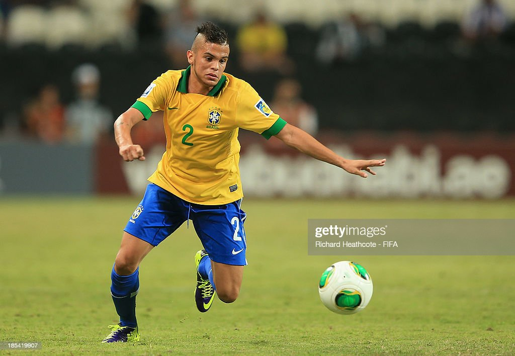Auro of Brazil in action during the FIFA U-17 World Cup UAE 2013 Group A match between United Arab Emirates and Brazil at the Mohamed Bin Zayed Stadium on October 20, 2013 in Abu Dhabi, United Arab Emirates.