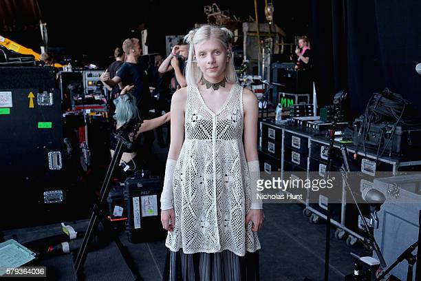 Aurora Aksnes of Aurora backstage before performing at the 2016 Panorama NYC Festival Day 2 at Randall's Island on July 23 2016 in New York City