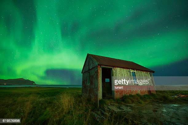 Aurora and Abandoned Hut, Lofoten, Norway