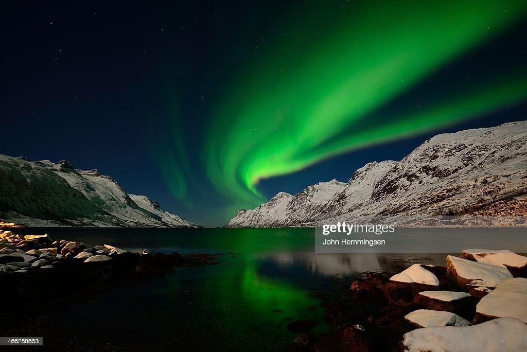 Aurora and full moon : Stock Photo