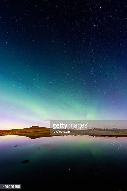 Aurora and glittering stars reflecting in tranquil mountain lake Iceland
