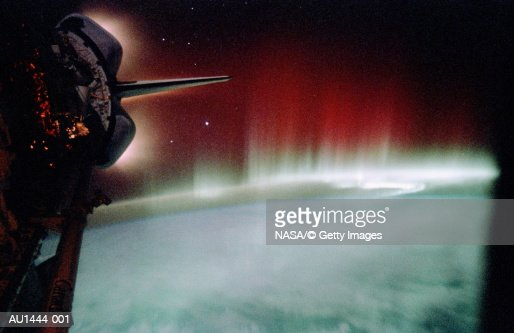 Aurora and glowing Space Shuttle  thrusters (Enhancement) : Stock Photo