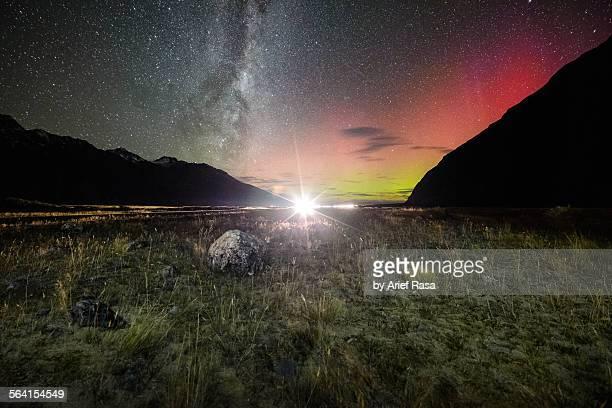 Aurora Australis & Milky Way at Mt Cook NP