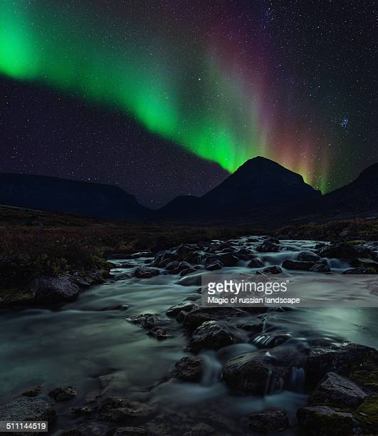 Aurora Borealis above Belaya river in Khibiny