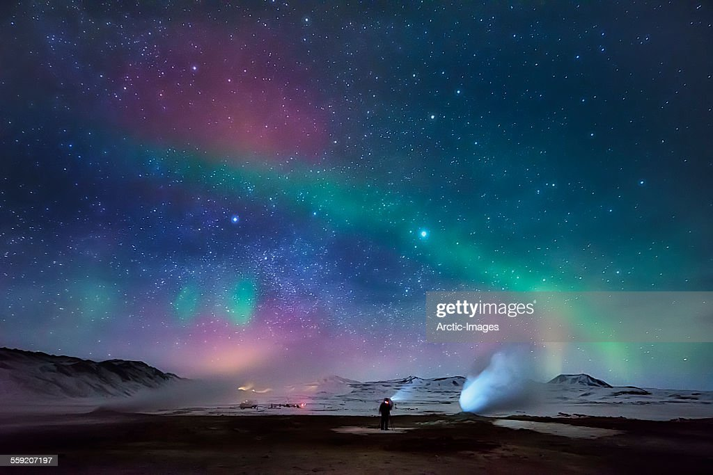 Aurora Borealis and Geothermal Steam, Iceland : Stock Photo