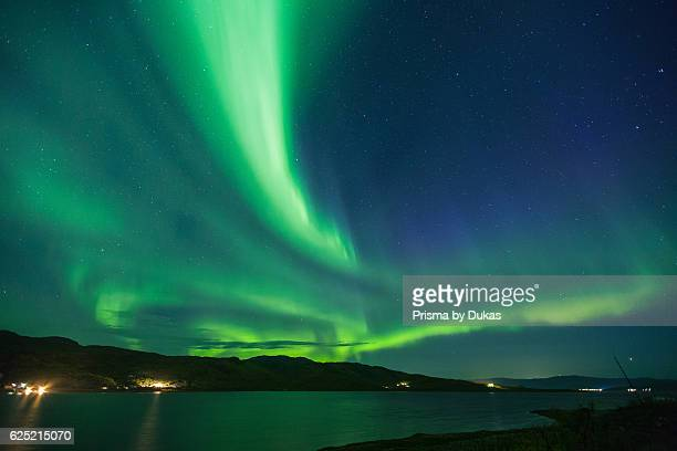 Aurora Borealis Europe autumn sky phenomenon Lapland light night northern lights Norway Oldernes polar light Repparfjord Scandinavia