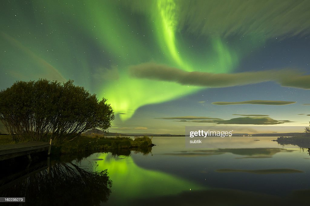 Aurora Borealis in green lights in Iceland : Stock Photo