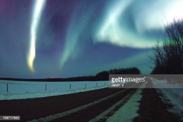 Aurora Borealis in Night Sky