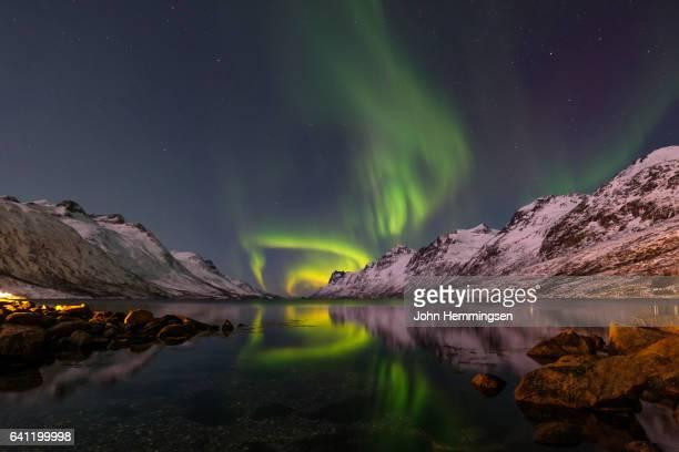 aurora borealis in the fjord