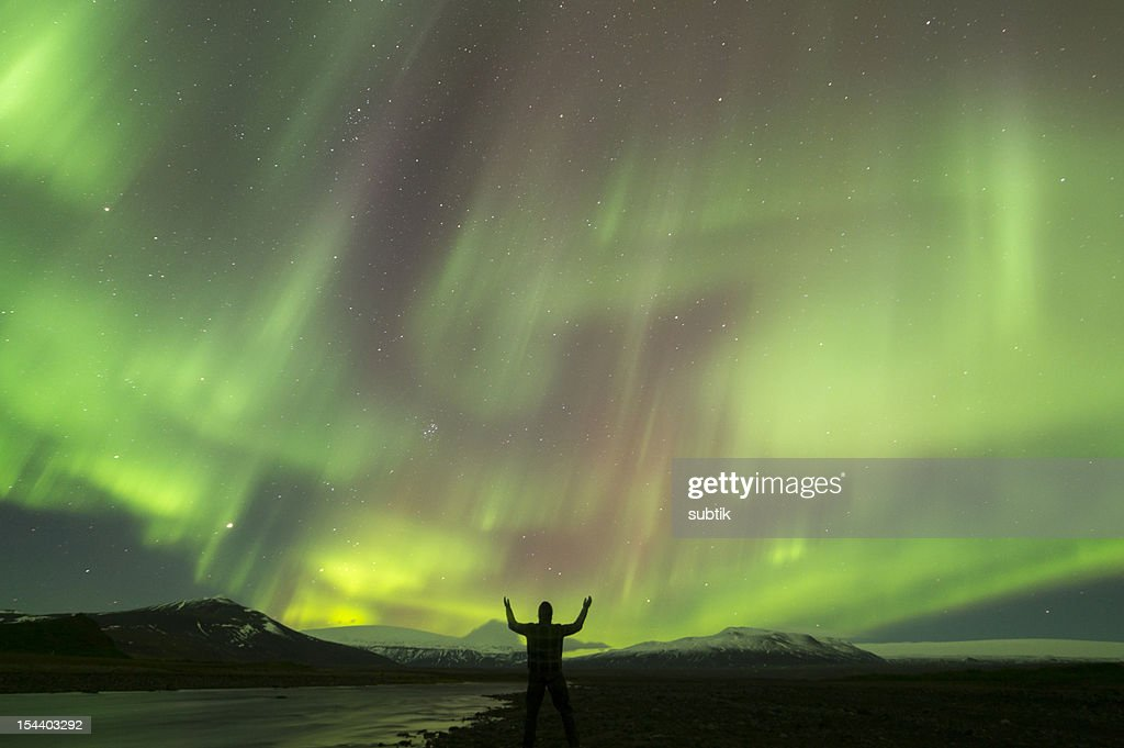 aurora borealis on iceland : Stock Photo