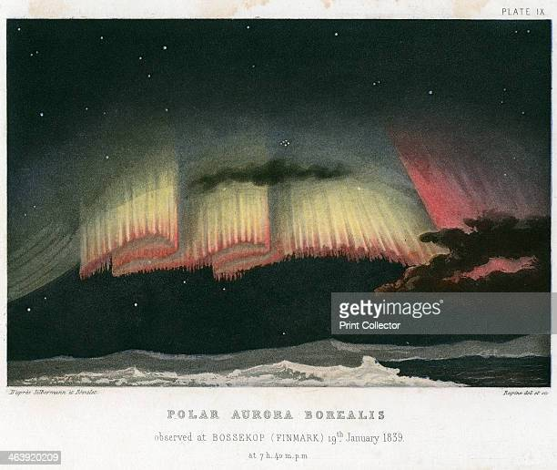 Aurora Borealis or Northern Lights curtain form 1839 Observed at Bossekop Norway 19 January 1839 Aurorae are caused by the interaction of the...