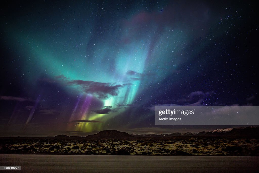 Aurora borealis or northern lights iceland stock photo getty images