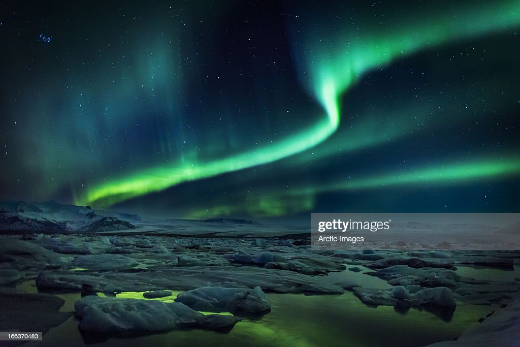 Aurora Borealis or Northern lights, Iceland : Stock Photo