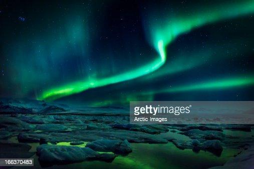 Aurora Borealis or Northern lights, Iceland : Stock Photo