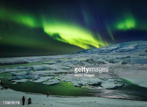 Aurora Borealis or Northern Lights, Jokulsarlon : Stock Photo