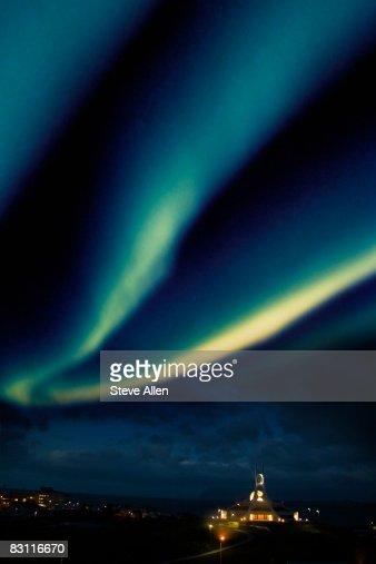 Aurora Borealis over church, Stykkisholmur, Iceland : Bildbanksbilder