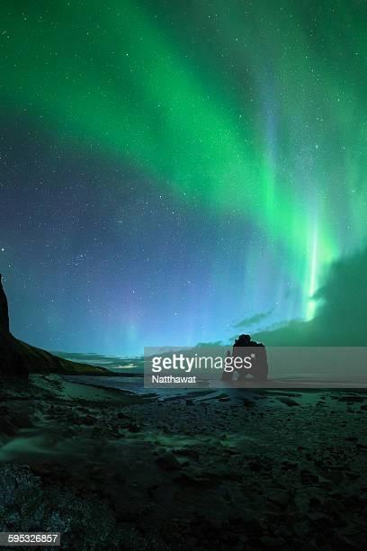 Aurora borealis over Hvitserkur Iceland