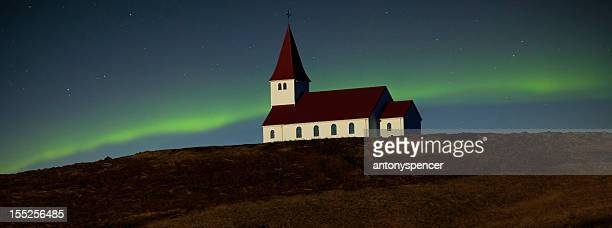 Aurora Borealis over Icelandic Church
