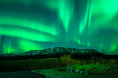 Aurora Borealis over mountain