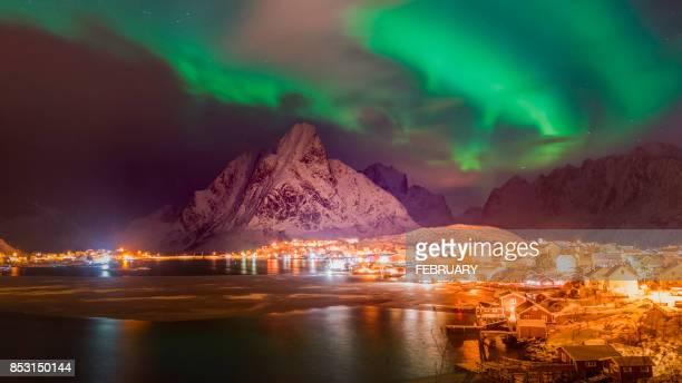Aurora borealis over the coasteral village at Reine.