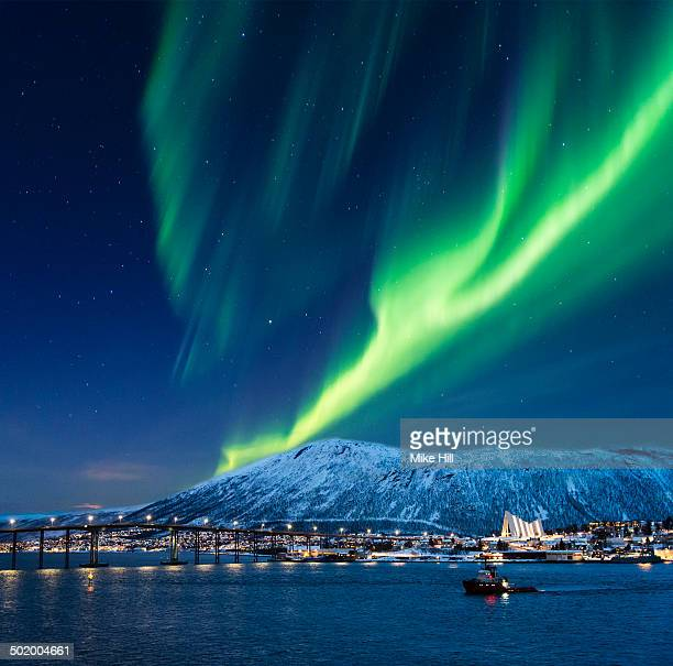 Aurora borealis over Tromso port